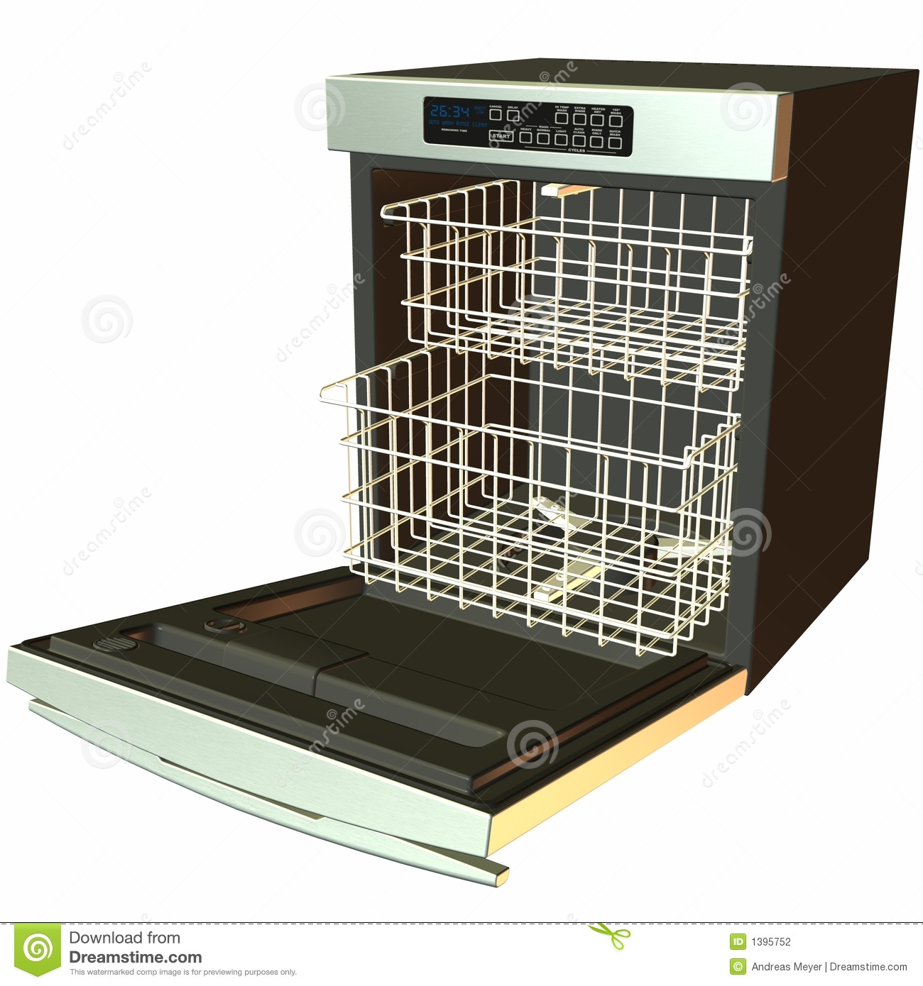 Stock Photography  3d Dishwasher  Open