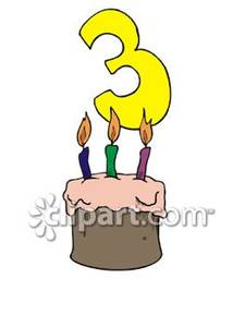Third Birthday Cake   Royalty Free Clipart Picture
