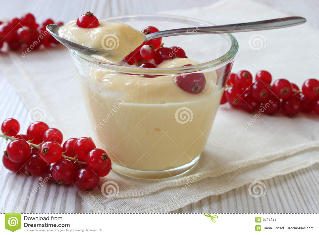 Vanilla Pudding With Redcurrants In A Glass Bowl With Spoon And