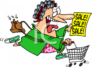0702 3102 Excited Woman Rushing To A Sale Clip Art Clipart Image Jpg