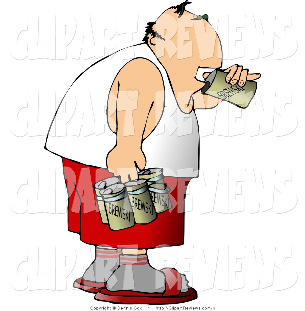 Clip Art Of A Man In A Wife Beater Drinking A Six Pack Of Beer By