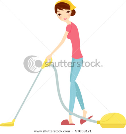 Clipart Picture Of A Pretty Young Woman Or Girl Vacuuming The House
