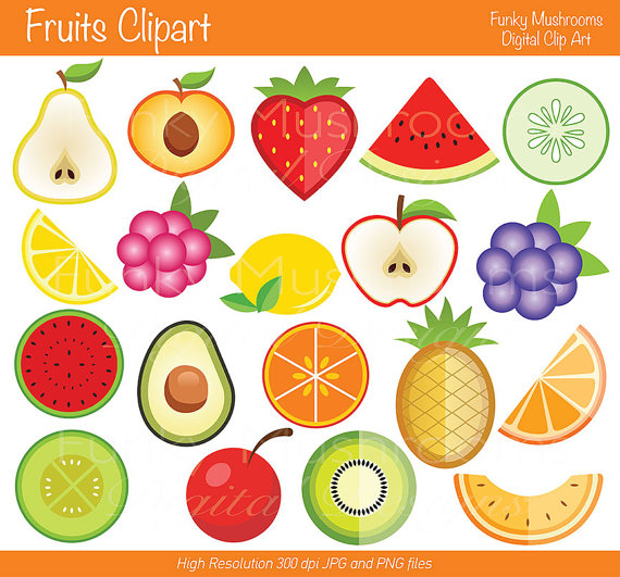 Fresh Fruit Clip Art Digital Clipart   Fruits