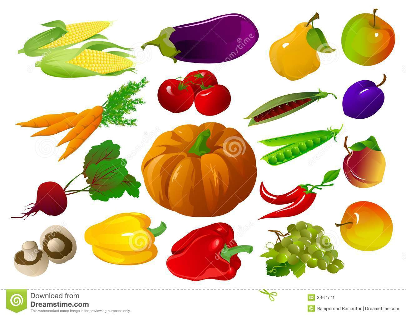Clip Art Fruits And Vegetables Clipart fruits and veggies clipart kid vegetables stock image 3467771
