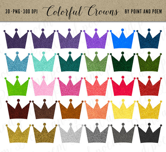 Glitter Crown Clipart Bright Crowns Clip Art Sparkly Digital Crown