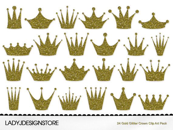 Gold Glitter Crown Clip Art Pack 24 Digital Clip Art Crowns For