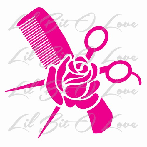 Hair Stylist Comb Scissors And Rose Vinyl Decal Cosmetology Sticker