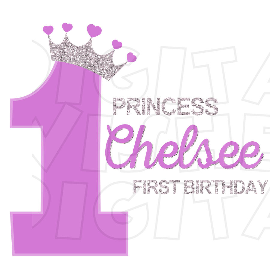 Princess Glitter Crown Purple 1st Birthday Personalized Any Name