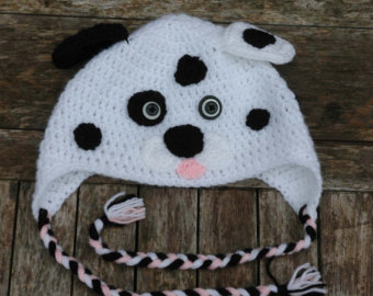 Spotty Dalmation Puppy Dog Crochet Hat With Ear Flaps And Plaits