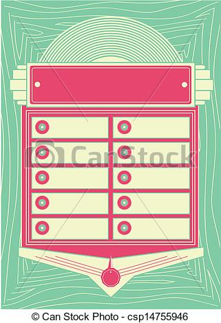 Vector   1950s Style Jukebox Background And Frame   Stock Illustration