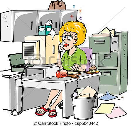 Woman Sitting At Her Desk Visibly Sick    Csp5840442   Search Clipart