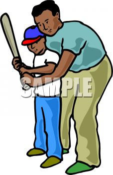 Black Dad Teaching His Son To Use A Bat   Royalty Free Clip Art