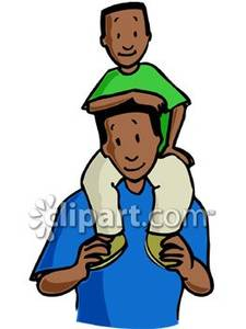 Boy On His Dad S Shoulders   Royalty Free Clipart Picture
