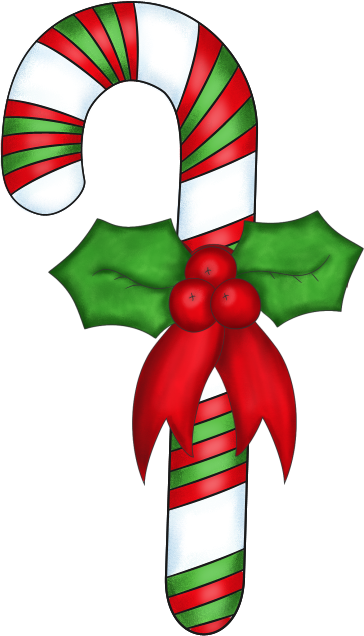 Candy Cane Decoration Clip Art Image Decorated Christmas Candy Cane