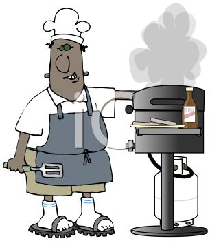 Cartoon Of A Black Dad Grilling Burger   Royalty Free Clip Art Picture