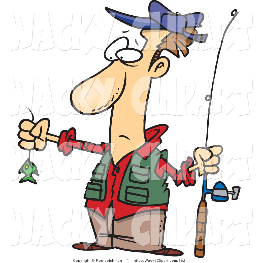 Clipart Of A Disappointed Fisherman With A Very Small Fish Catch By