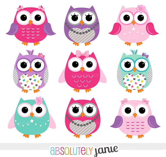 Girly pink purple owls digital clipart instant download clip art