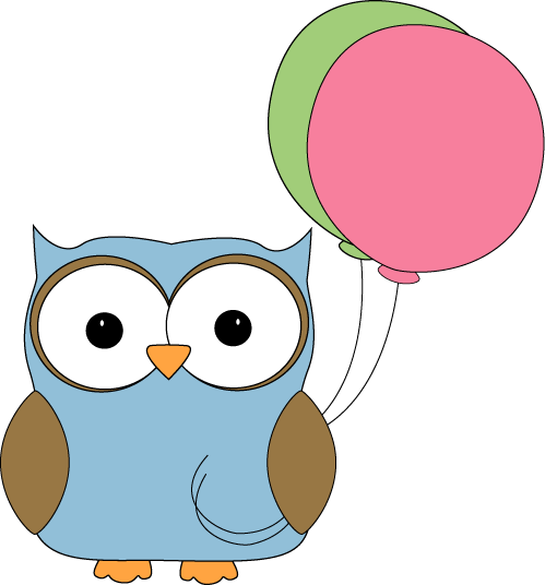 Owl With Balloons Clip Art Image   Cute Blue Owl With Pink And Green