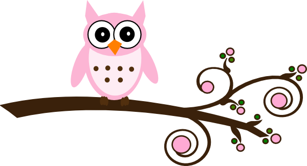Pink Owl On Branch Clip Art At Clker Com   Vector Clip Art Online