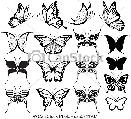 Vectors Illustration Of Butterfly Clipart   Set Of Butterflies