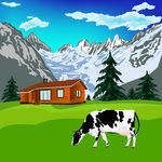 Alps Landscape   Dairy Cow On A Alps Mountains Green