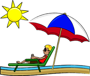 Beach Clipart Image   Tourist Relaxing In The Sunshine At The Beach In