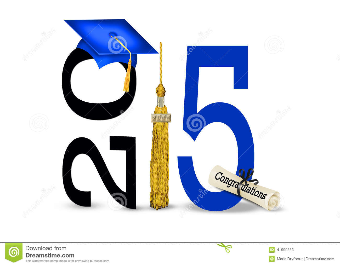 Blue Graduation Hat With Gold Tassel And Diploma For Class Of 2015