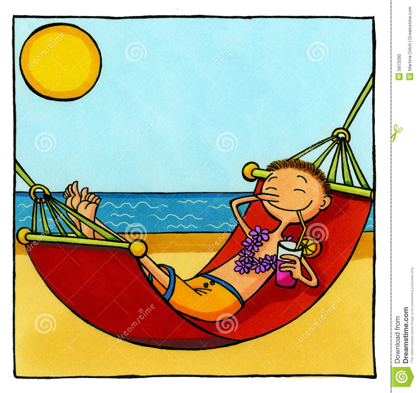 Cartoon Drawing Of A Tourist Relaxing In A Hammock At The Beach