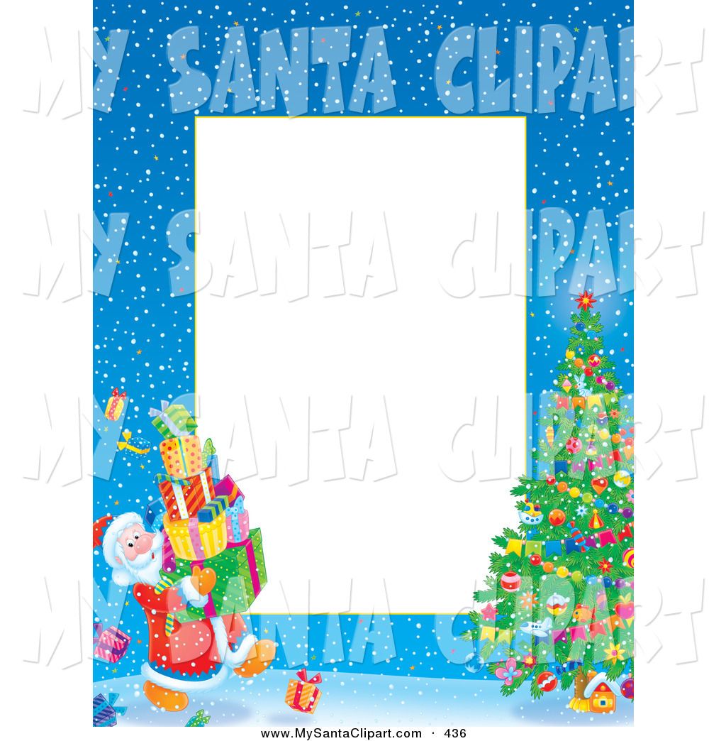 Christmas Clip Art Of A Border Of Santa Carrying Presents To A