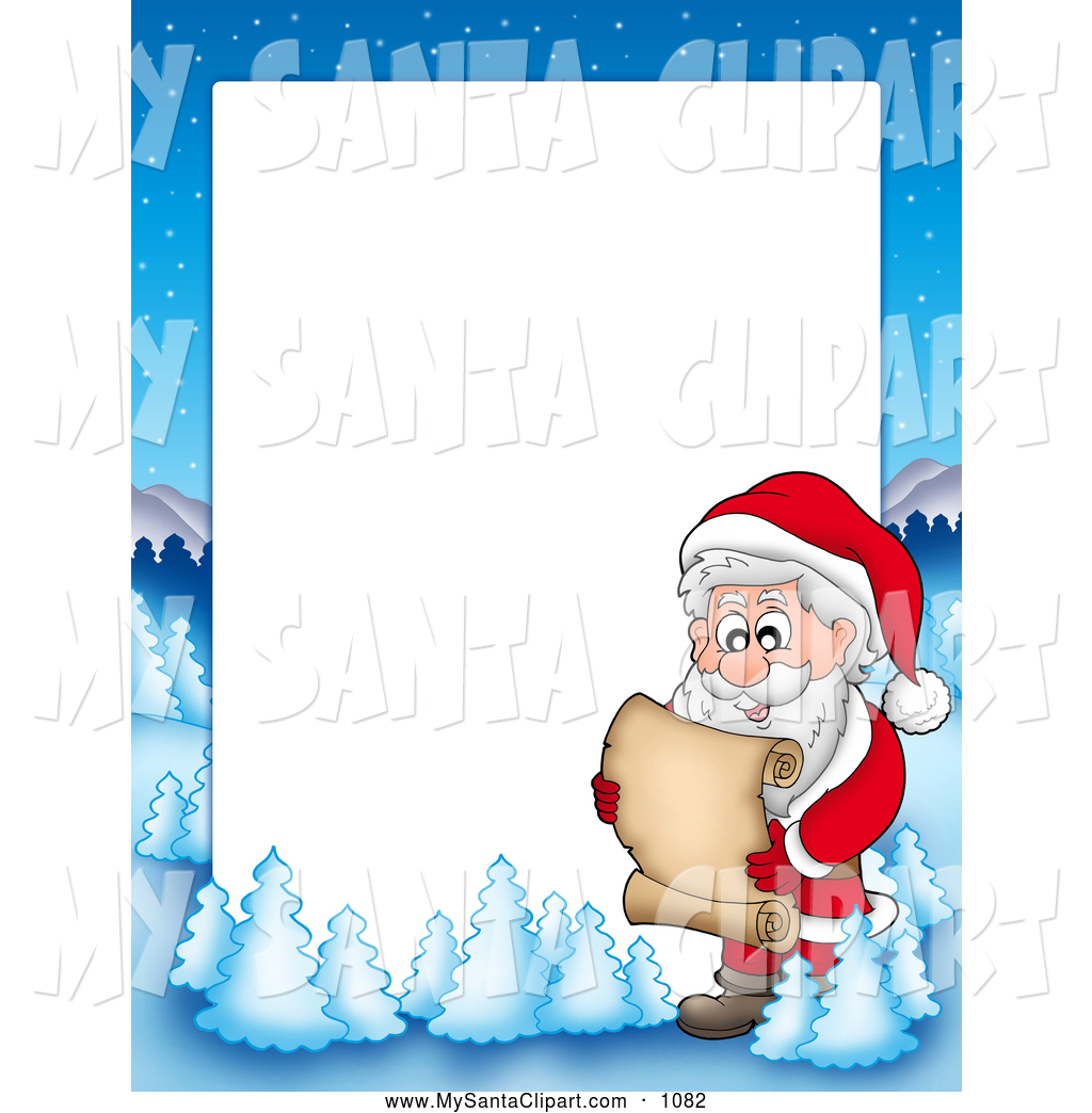 Christmas Clip Art Of A Frame Border Of Santa Reading A List With A