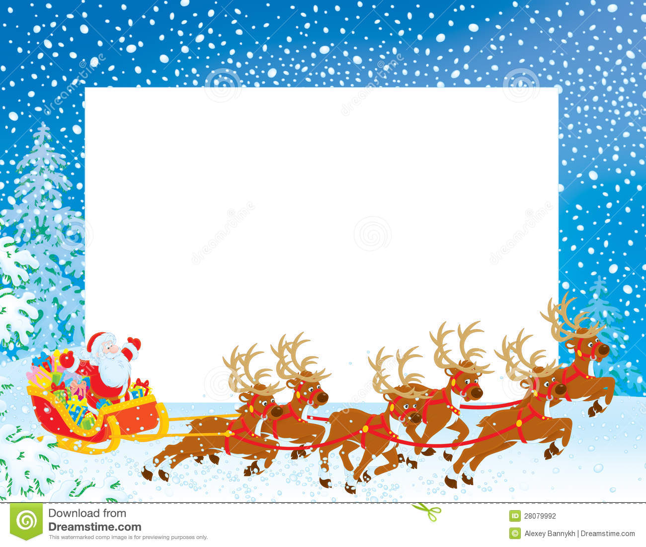 Christmas Sleigh With Santa Border With Sleigh Of Santa