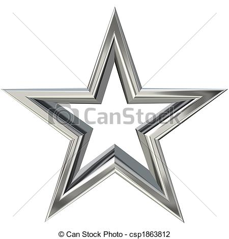 Clip Art Of 3d Silver Star   3d Rendering Of Silver Star Front View