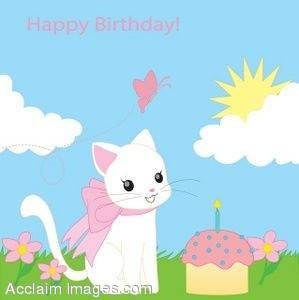Clipart Illustration Of A Kitten With Happy Birthday
