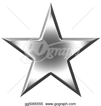 Drawing   3d Silver Star Isolated In White  Clipart Drawing Gg5065555