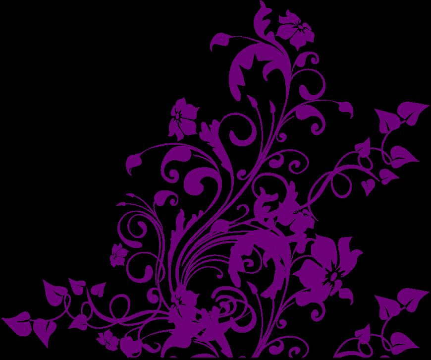 Purple Flower Corner Clipart - - 80.1KB