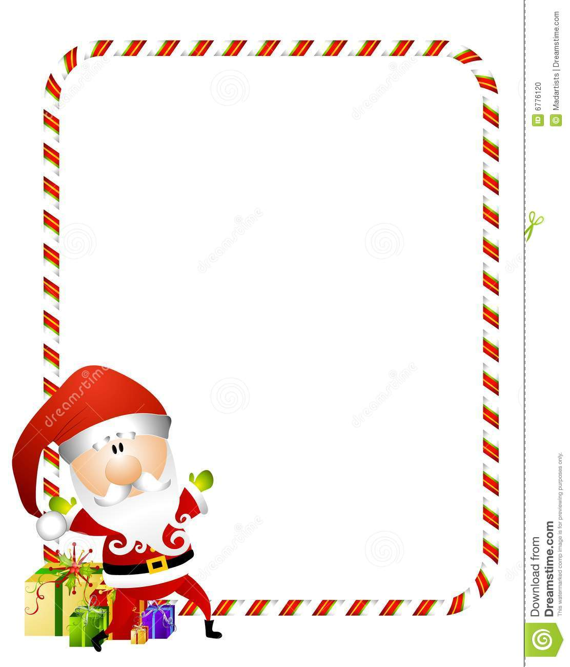 Featuring A Santa Claus With Candy Cane Border And Presents