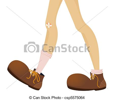 Funny Feet Of Teenager Are In Large Boots   Vector Illustration