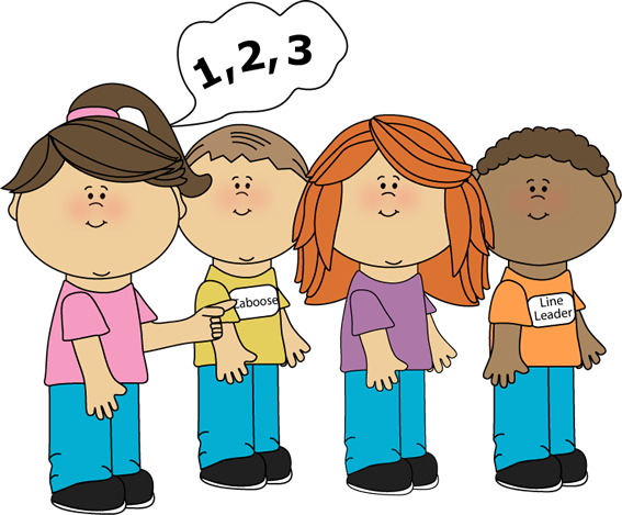 Girl Line Counter Clip Art Image   Kids In A Line And A Girl Counting