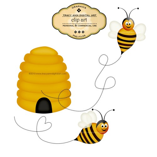 Honey Bees Beehive   Clip Art   Tracyanndigitalart   Graphics On