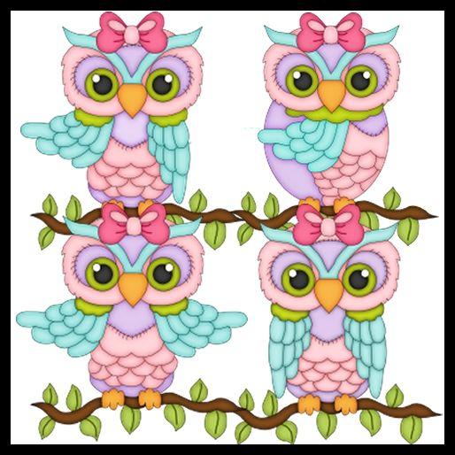 Lil Girl Owls Clipart   Cartes Vintage    Pinterest