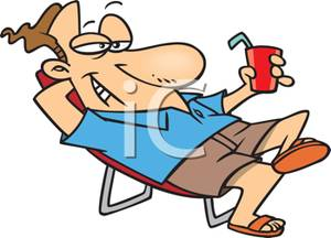 Of A Man Relaxing With A Soft Drink   Royalty Free Clipart Picture