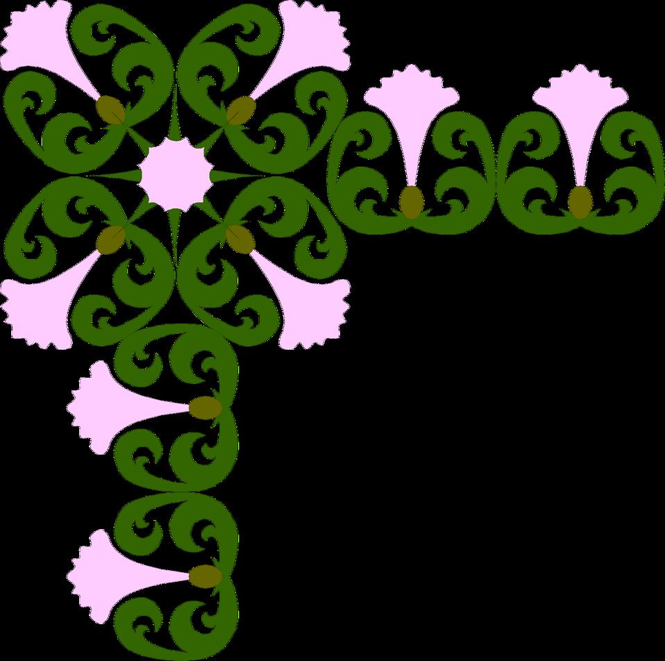 Purple Flower Corner Clipart - - 248.8KB