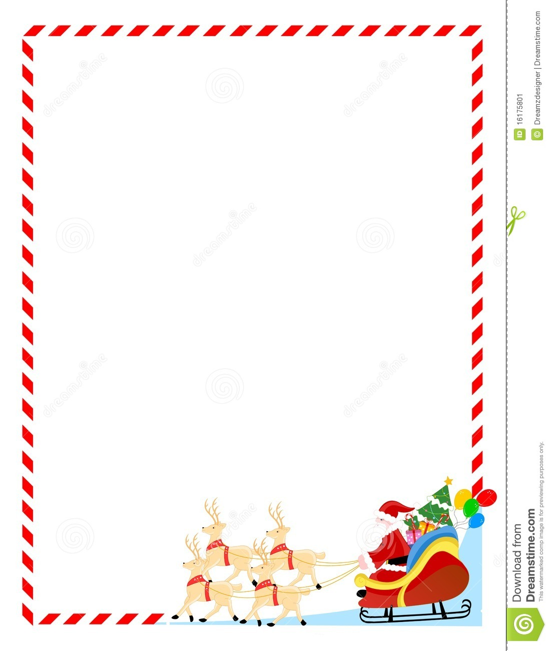 Santa Claus On A Sledge With Cute Deers Colorful Christmas Border