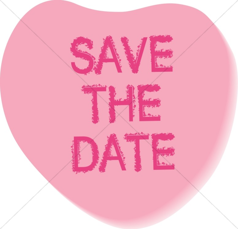 Save The Date Candy Heart   Christian Wedding Clipart