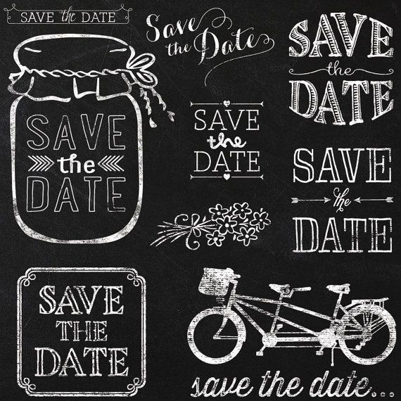 Save The Date Wedding Chalkboard Clipart Version 2   Instant Download