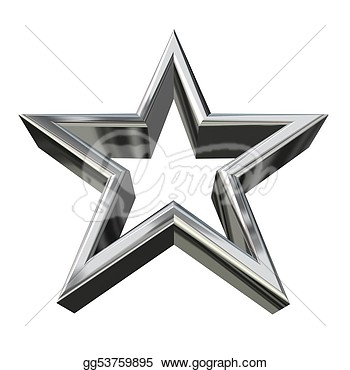 Stock Illustration   3d Silver Star  Clipart Gg53759895   Gograph