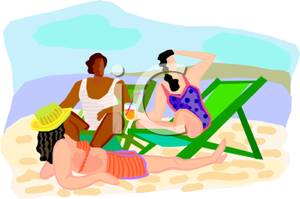 Three People Relaxing On A Beach   Royalty Free Clipart Picture
