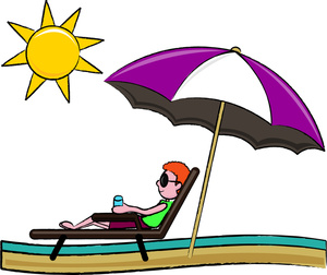 Vacation Clipart Image   Man Relaxing On A Chase Lounge Chair Under A