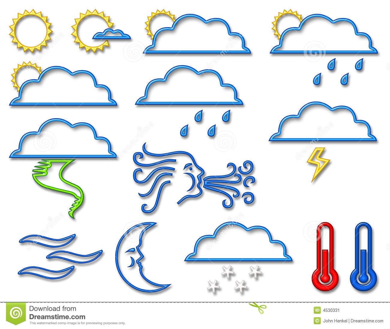 Weather Symbol Collection In Neon Stock Image   Image  4530331