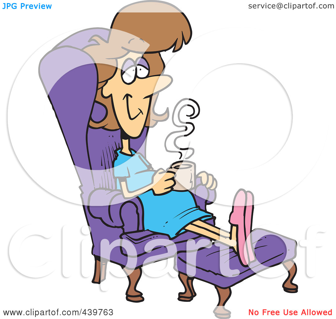 Woman Relaxing In A Chair With A Warm Beverage By Ron Leishman  439763